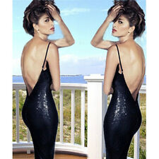 Sexy Sequins Halter Women Backless Sexy Suspender Party Cocktail Nightclub Dress