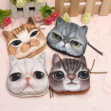 Cute Children Cat Face Zipper Case Coin Purse Wallet Makeup Pouch Buggy Bag