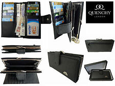 Large Purse Real Black Leather 12 Card 2 Coin Slots Framed Ladies Purses Q209KMB