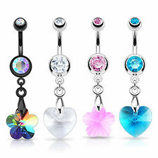 PRISM GEM CRYSTAL BELLY DANGLE NAVEL RING BAR TITANIUM ANODISED SURGICAL STEEL