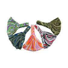 Soft Wide Headband w/elastic Swirl Pattern Cotton Hair Wrap Womens Yoga Headwrap