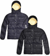 Boys Hooded Winter Coat Kids Padded Lined Warm Jacket Black New Age 3 - 12 Years