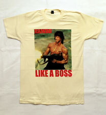 Rambo - Like a Boss Machine Gun - vintage white fitted t-shirt - Official Merch