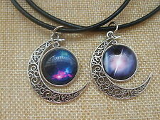 Black Leather Choker Necklace Moon Shaped Glass Cameo Charms Pendant Necklace