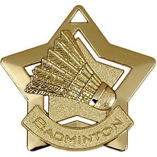 60mm Mini Star Badminton Medal with ribbon,Gold,Silver or Bronze