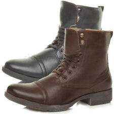 MENS LOW HEEL MILITARY BIKER LACE UP ZIP ARMY COMBAT ANKLE BOOTS SHOES SIZE