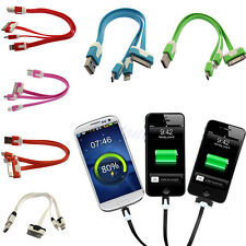 3 in 1 USB Sync Data Charger Charging Cable Cord For iPhone 5 4 HTC Samsung Flat