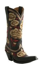 Lucchese M4855 Womens Black Leather Western Cowboy Boots With Yellow Rose Stitch