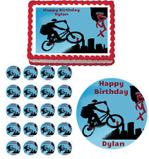 BMX Dirt Bike Bicycle Edible Birthday Cake Cupcake Toppers Party Decorations