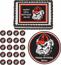 Georgia Bulldogs Edible Birthday Cake Cupcake Toppers Party Decorations Images