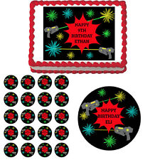 Laser Tag Edible Birthday Cake Cupcake Toppers Party Decorations Images