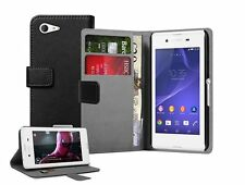 WALLET Leather Flip Case Cover Pouch Saver For Sony Xperia E3 experia (+2 FILMS)