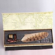 Vintage Style Night Silver Chook Owl Feather  Quill Nib Pen & Writing Ink set