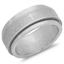 646-174-R SPINNER OUR FATHER PRAYER  STAINLESS STEEL WEDDING BAND RING UNISEX