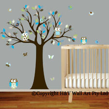 Cot Side Owl Tree Removable Wall Stickers Boys Decal Nursery Kid Art Mural Decor