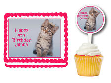 Glamour Kitten Cat Edible  Birthday Cake Cupcake Toppers Party Decorations