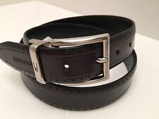 Tommy Hilfiger Men's Belt Reverse Black Brown Leather Silver Buckle Sz 34 36 38