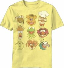 The Muppets Jim Henson Vintage Faces Yellow Adult T-Shirt