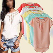 New Women's Blouse Casual Short Sleeve Chiffon Blouse Shirt T-shirt Summer Tops