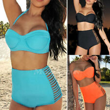TOP RETRO Swimsuit Swimwear Vintage Push Up Bandeau HIGH WAISTED Bikini Set S-XL
