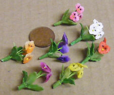 1;12 Scale Handmade Polymer Clay Dolls House Miniature Pansy Flowers