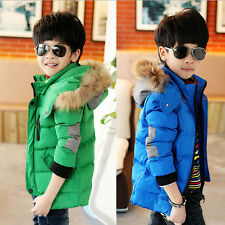 Fashion Warm Thick School Children Boys Jackets With Hat Winter Coat