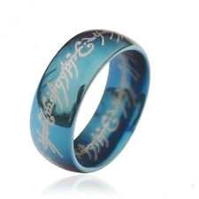 "Blue Solid Tungsten Ring Lord of the Rings Hobbits ""The One Ring"" LOTR Size 8-11"