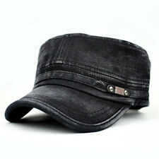 Army Urban Cadet Caps Hats Snap Button Details Heavy Washed Black or Navy