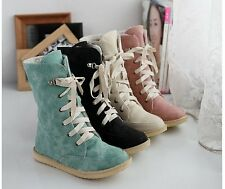 Womens Suede Lace Up Fur Winter Warm Thicken Shoes Ankle Snow Boots Martin boots