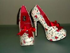 New Pleaser Pin UP Couture Teeze 12-3 Sexy Ivory Tattoo Stiletto High Heel Shoes