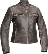 River Road Womens Drifter Classic Leather Motorcycle Riding Jacket