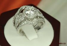 WOMEN'S ROUND STERLING SILVER 925 VTG CZ  PAVE ENGAGEMENT RING  WEDDING RING SET