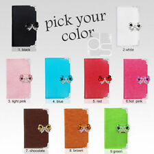 Bling Butterfly Crystal Leather Wallet Case Cover w Magnetic Closure For Samsung