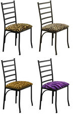 FC104 NEW BLACK FINISH METAL SIDE DINING CHAIRS PADDED SEAT CUSHION W/ THEME