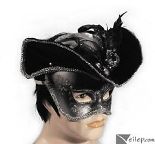 Venetian Masquerade Pirate Anonymous Half Mask w Hat - Gold or Silver Adult OS