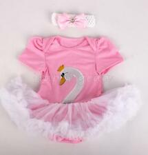 Baby Girls Easter Pink Swan Outfits Clothes Tutu Fancy Dress Romper Bodysuit New