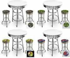 FC119 3 PIECE SPORTS THEMED CHROME METAL WHITE BAR TABLE SET W 2 SWIVEL STOOLS