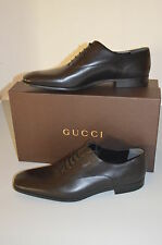 $595 AUTHENTIC GUCCI MEN  278956 BLACK  LEATHER CORK LACE  OXFORD DRESS SHOES