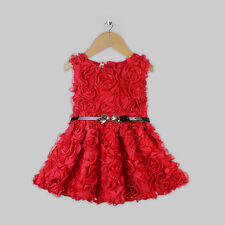 Red girls rose flower tu tu party Christmas occasion dress age 18 months - 6 yrs