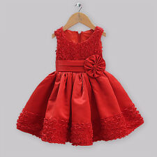 Girls red rosette Christmas party occasion wedding prom flower girl dress 1-7 yr