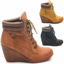 LADIES WOMENS ANKLE LACE UP HIGH LEATHER STYLE WEDGE HEEL BOOTS SHOES SIZE