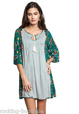GREEN Baby Doll Tunic Dress Umgee Anthropologie USA Bohemian Chic Mix Print