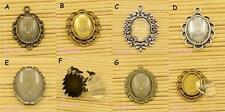 2 x Cabochon Settings & Glass Domed Cabochons Sets - Diff Styles TS426