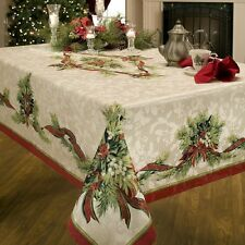 Benson Mills Christmas Ribbons Engineered Printed Fabric Tablecloth Xmas