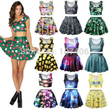 Fashion Adventure Time Cartoon Print Women crop top and skirt set galaxy dresses
