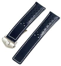 Navy Blue / White RALLY Smooth Leather Watch Band Strap MADE FOR TAG HEUER