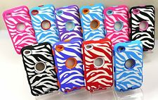 Zebra Stripes impact Hard Rugged Hybrid Case w/ Built In Screen iPod Touch 4g