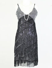 S M L GREAT GATSBY CHARLESTON BLACK SILVER FLAPPER FRINGE 1920s TASSEL DRESS