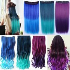 Lady Cosplay Neon Straight Curly Synthetic Hair Extension Clip-On Colorful