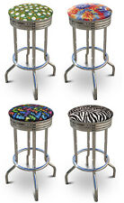 "FC28 24"" TALL COUNTER HEIGHT CHROME METAL FINISH BAR STOOLS SWIVEL SEAT CUSHION"